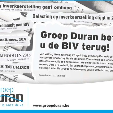 Groep Duran betaalt u de BIV terug!